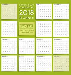 2018 calendar planner design week starts from vector image