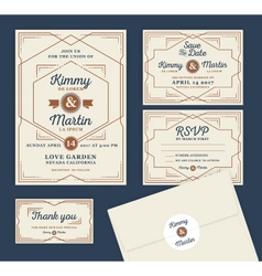 Art Deco Letterpress Wedding Invitation Design vector image vector image