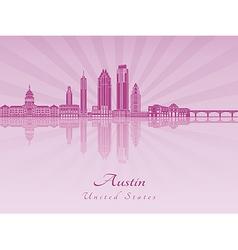 Austin skyline in purple radiant orchid vector image