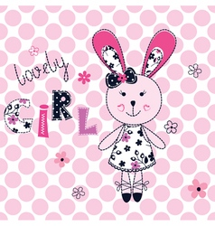 Background with cute rabbit vector image