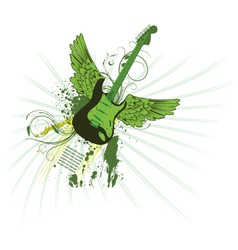 grunge vintage emblem with guitar vector image vector image