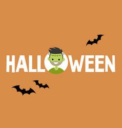 halloween conceptual sign frankenstein and black vector image