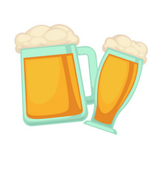 man and woman glasses of beer with foam isolated vector image vector image