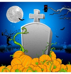 Pumpkin around Tomb Stone vector image vector image