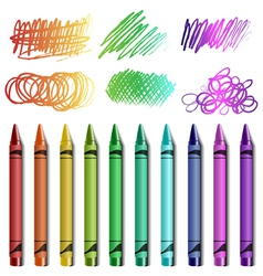 Crayon set with sketches vector image vector image
