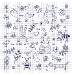 Sketch animals and plants vector image