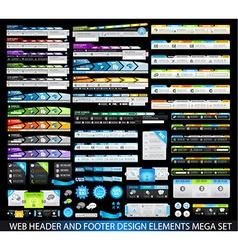 WebHeaders MegaSet black vector image