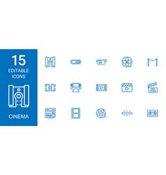 15 cinema icons vector