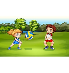 A girl and a boy playing volleyball vector image