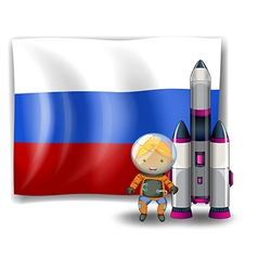 A Russian flag with an explorer beside a rocket vector image