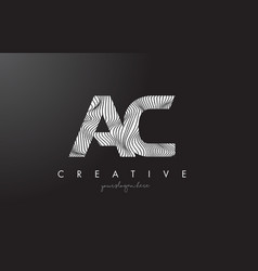 Ac a c letter logo with zebra lines texture vector