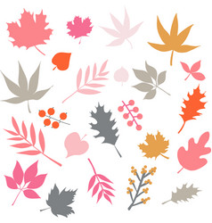 Autumn leaves isolated icon set vector