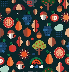 autumn symbols pattern vector image vector image