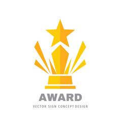 award winner cup - logo template concept vector image