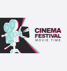 banner for cinema festival with old movie camera vector image