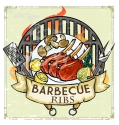 BBQ Grill label design - Ribs vector