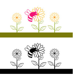 Bee and flower blossoms cliparts vector