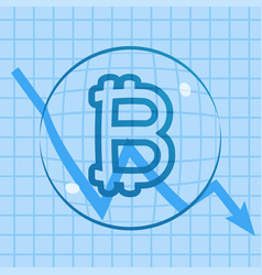 Bitcoin dropping price bubble vector