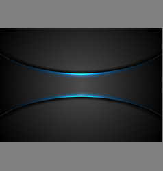 black abstract tech background with blue glowing vector image
