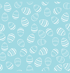 blue and white easter eggs pattern vector image