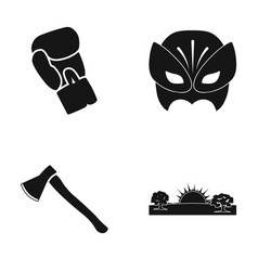 Boxing glove mask and other web icon in black vector