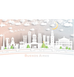 buenos aires argentina city skyline in paper cut vector image
