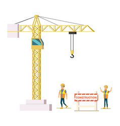 Builders on construction site vector