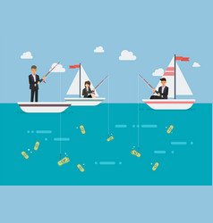 businessman and woman fishing money vector image