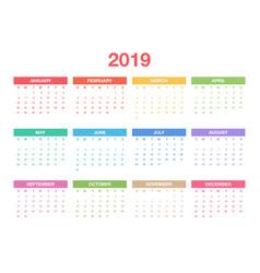 calendar 2019 template colorful calendar design vector image