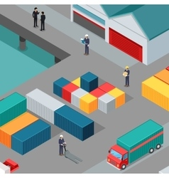 Cargo Port Concept in Isometric Projection vector