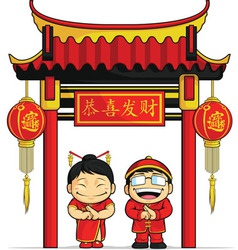 Cartoon boy girl greeting chinese new year vector