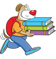 Cartoon dog carrying books vector