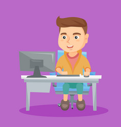 Caucasian schoolboy working on a computer at home vector