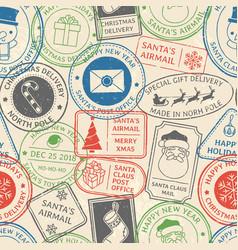 christmas postal pattern santa claus postmark vector image