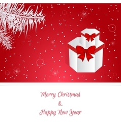 Christmas red card white christmas tree branches vector