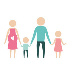 color silhouette pictogram parents with mother vector image