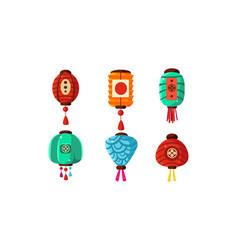 colorful chinese festival lanterns set decorative vector image