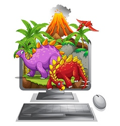 Computer screen with dinosaurs and volcano vector