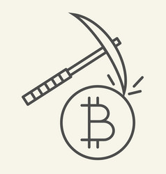 cryptocurrency mining thin line icon crypto vector image