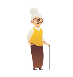 cute old woman with walking stick grandmother vector image