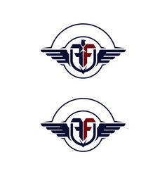 Emblem wings logotype with letter f vector