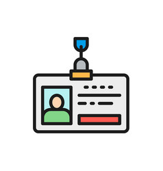 Employee pass id card identity profile flat vector