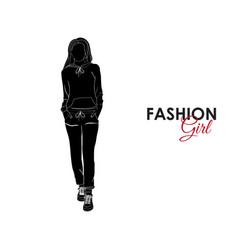 Fashionable girl fashion silhouette of a girl vector