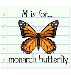 Flashcard letter m is for monarch butterfly vector