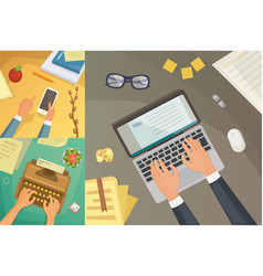 flat design top view on desk concept design vector image