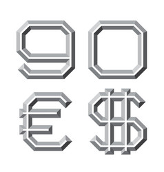Gray faceted nine zero numbers euro and dollar vector