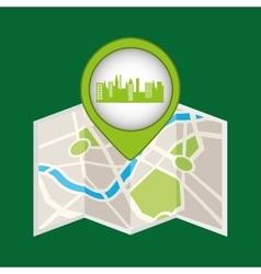 green city pin map icon vector image