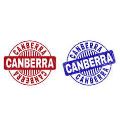 Grunge canberra scratched round stamps vector