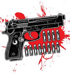 gun texture grunge black red vector image