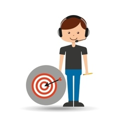 guy operator help service target vector image